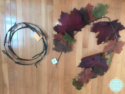 wreath base and leaves