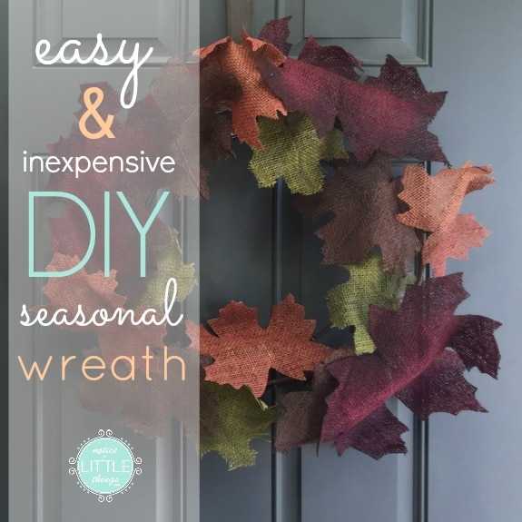 make this super easy diy fall wreath in just two steps with just two supplies! no glue or sewing required for this easy and festive diy front door wreath {and you can use this method for other seasonal wreaths as well!}. #easywreath #diyfallwreath #diywreath #diyseasonalwreath #diyholidaycrafts #diyholidaywreaths #easydiywreath #howtomakeafrontdoorwreath #frontdoorwreath #diyfrontdoorwreath
