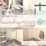 budget-friendly laundry room renovation, day 1