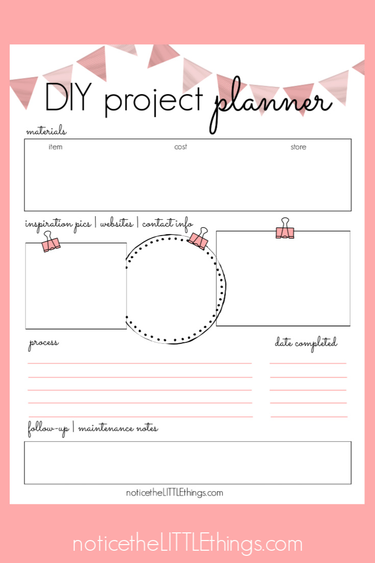 printable DIY project planner