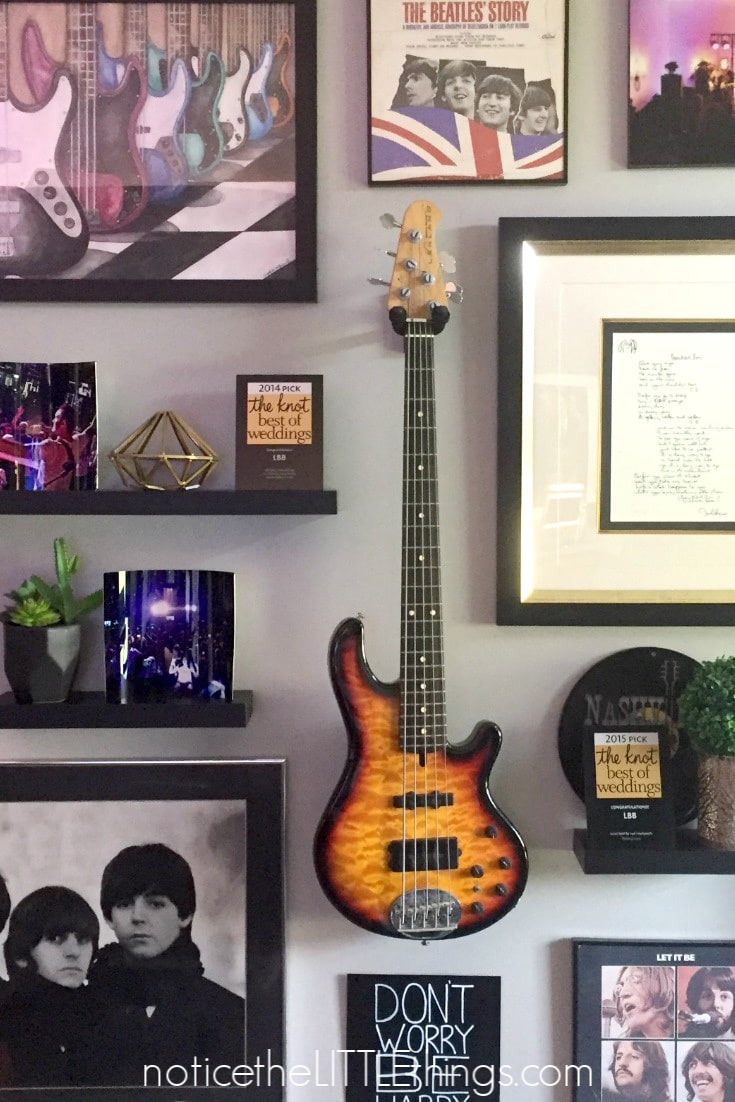 picture and guitar gallery wall