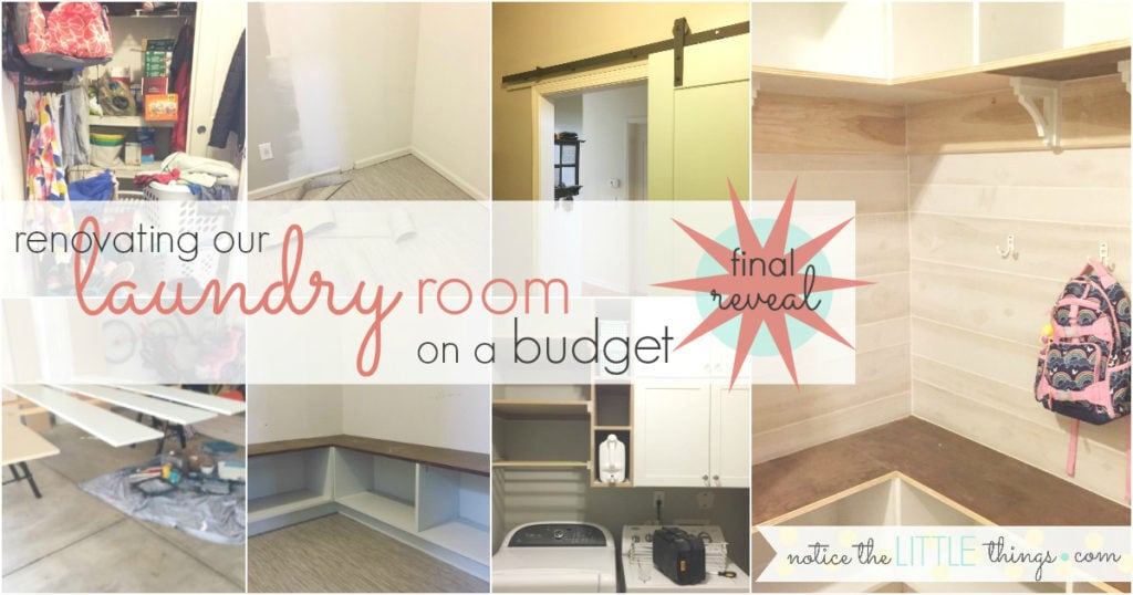 renovate your laundry room on a budget. this is the final reveal. see how we saved thousands on our laundry room renovation. #noticethelittlethings #noticethelittlethingsdiy #farmhouselaundryroom #laundryroominspiration #laundryroomideas #laundryroomstorage #mudroomideas #mudroom storage #mudroominspiration #farmhousemudroom #laundryroombuiltins #mudroombuiltins #renovatingonabudget #mudroom #laundryroom