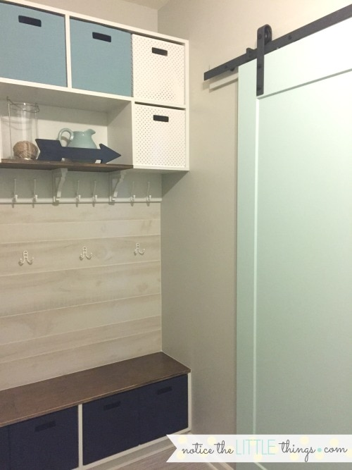 sliding barn door in laundry room