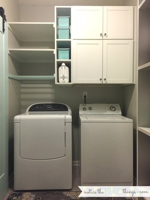 laundry room open shelving