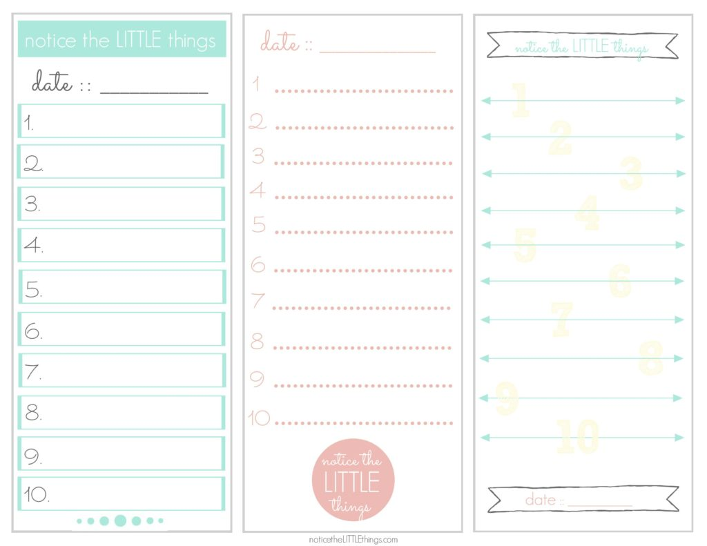 notice the little things list printable