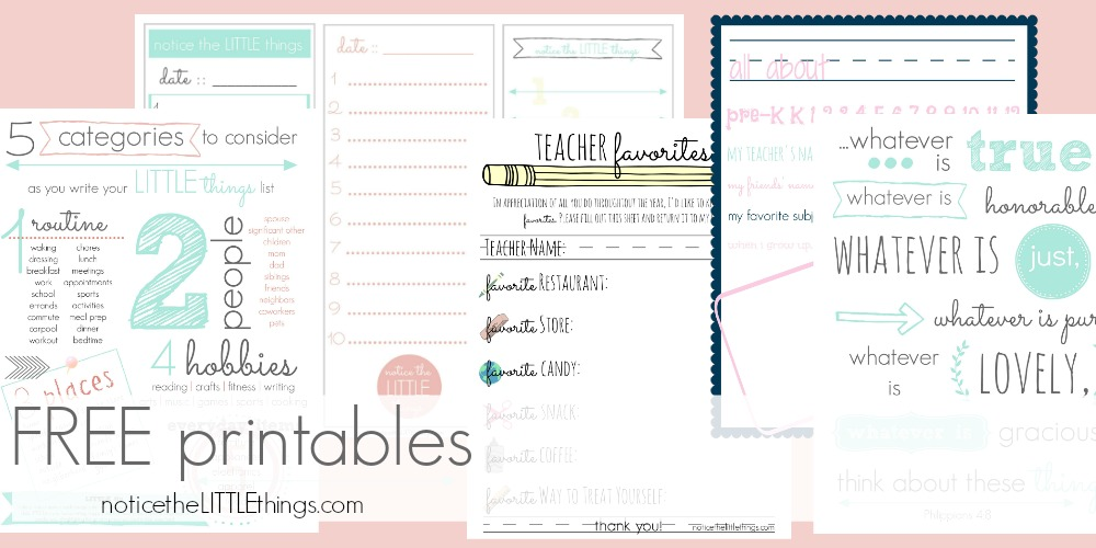 notice the little things free printable library