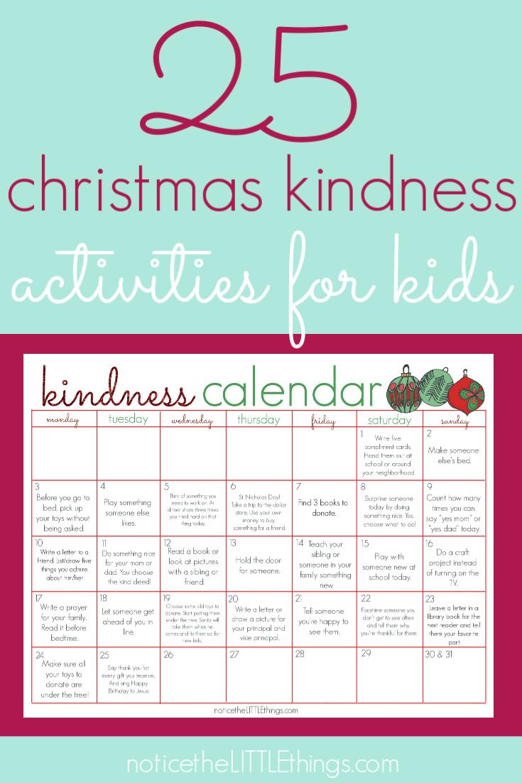 kindness activities calendar