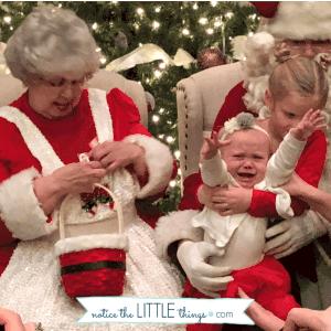 crying on santa's lap