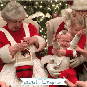 crying on santa's lap