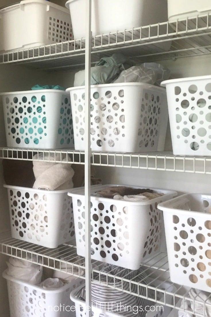 organized linen closet dollar store