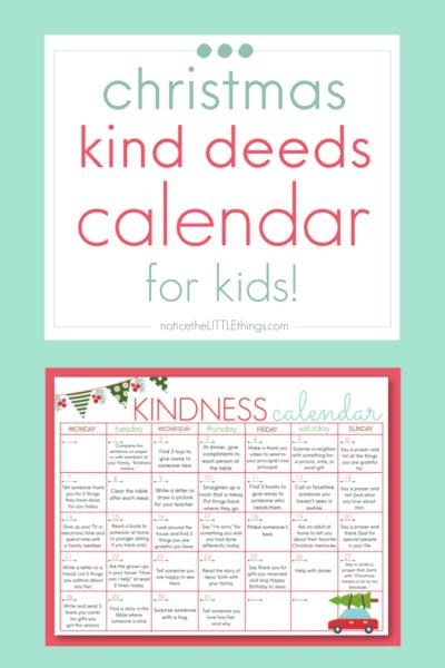 christmas kindness calendar for kids