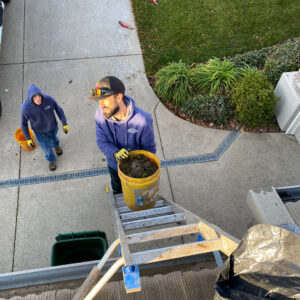 Kobe and Michael from Sierra Vista Maintenance help prevent clogged downspouts by cleaning gutters in the Sacramento area.