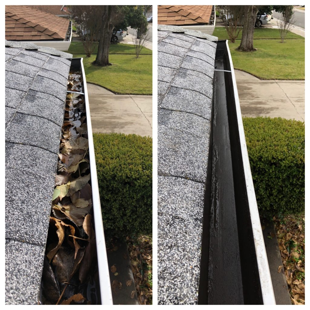 Before and after rental property gutter cleaning in the Sacramento area.