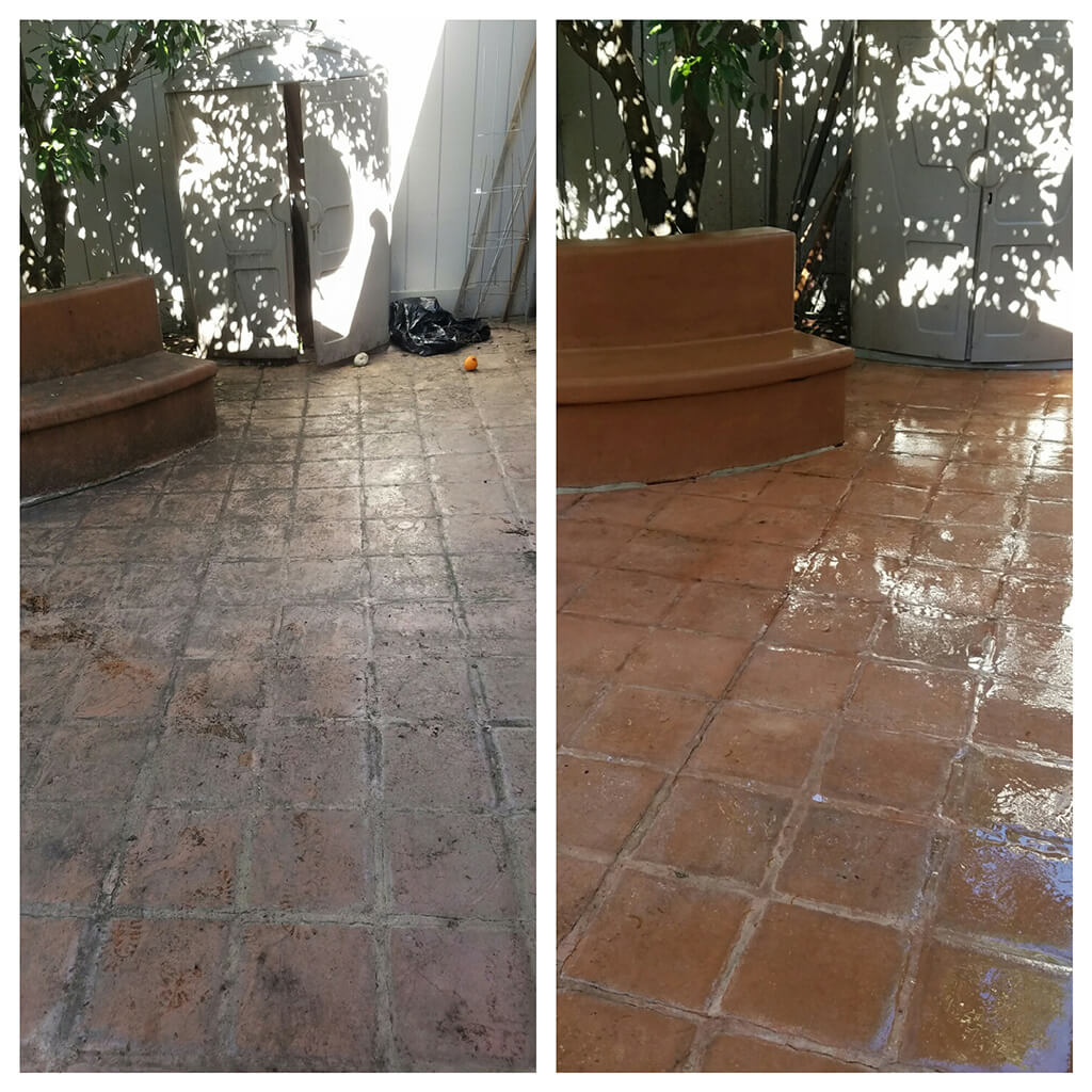 Before and after pressure washing backyard patio tile
