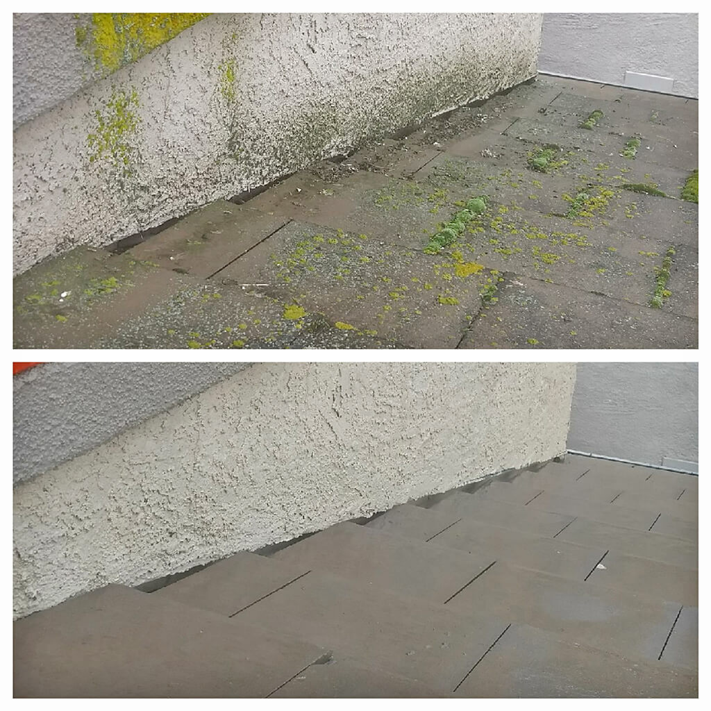 Before and after pressure washing steps to remove moss