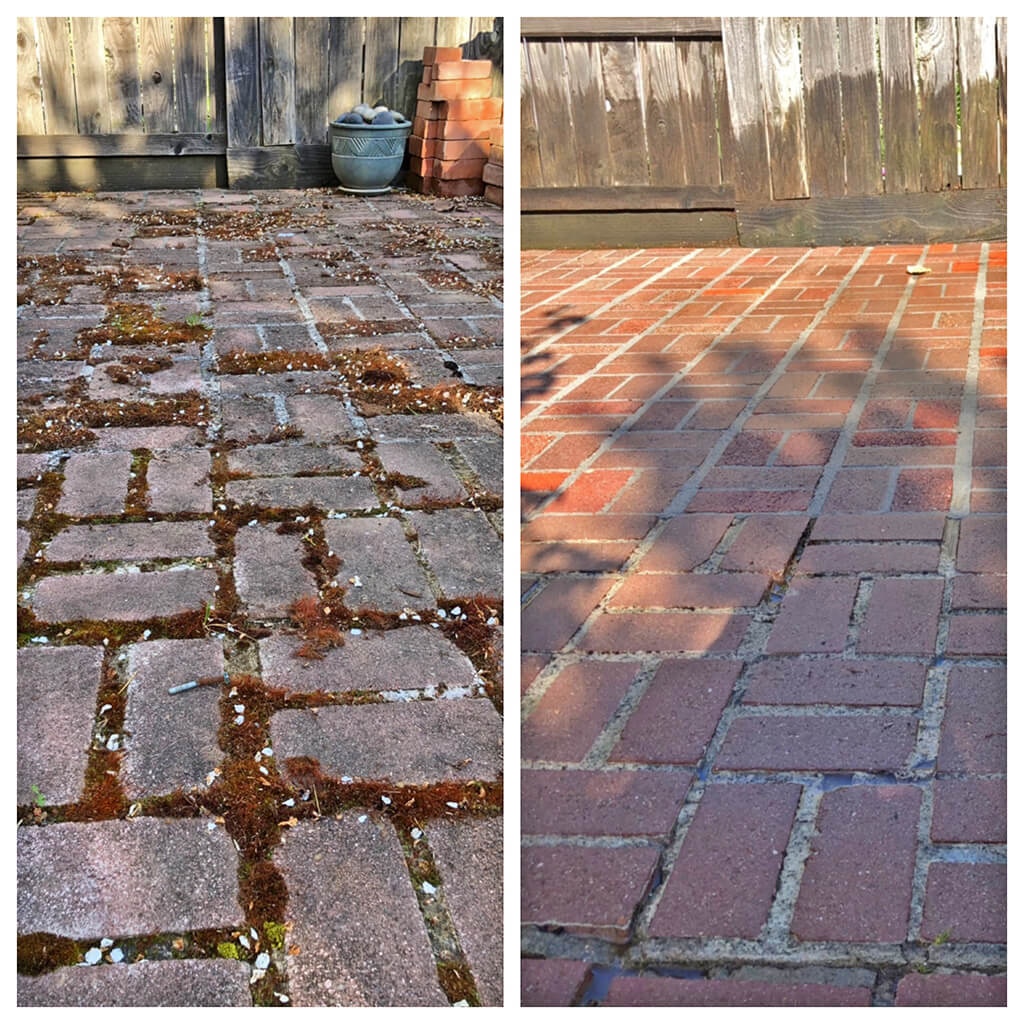 Before and after brick patio pressure washing in Folsom, California