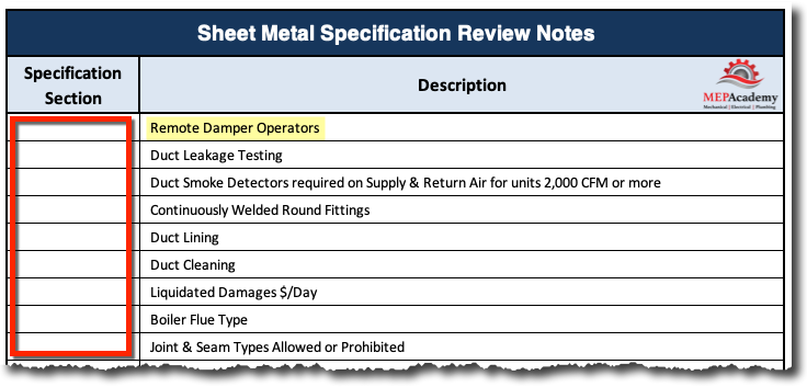 Sheet Metal Specification Review Checklist