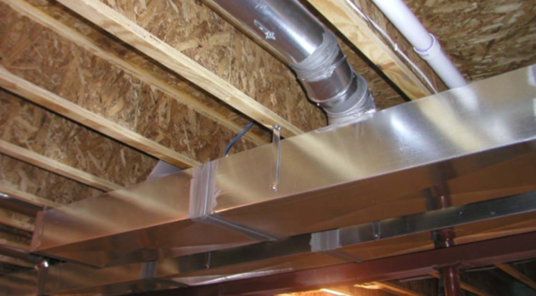 Duct hung in Wood Structure