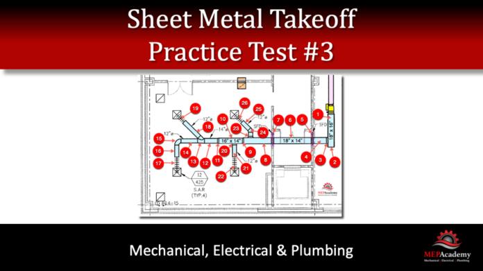 Sheet Metal Takeoff Practice Test 3
