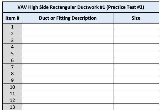 VAV High-Side Rectangular Ductwork - Practice Test #2