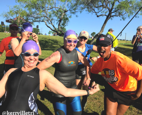 Camille Baptiste pumping up triathletes at 2018 Rookie Tri!
