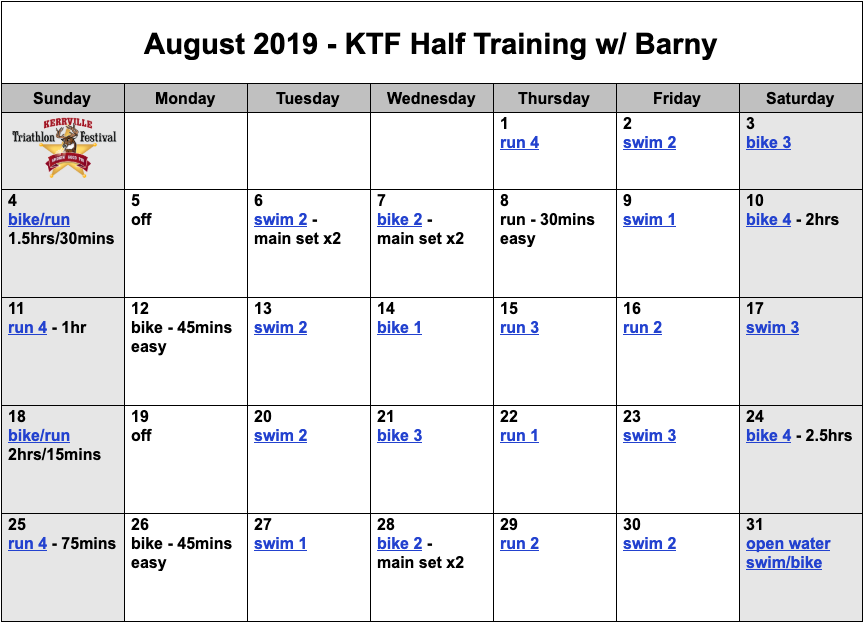 Download your FREE Kerrville Tri half distance triathlon training plan.