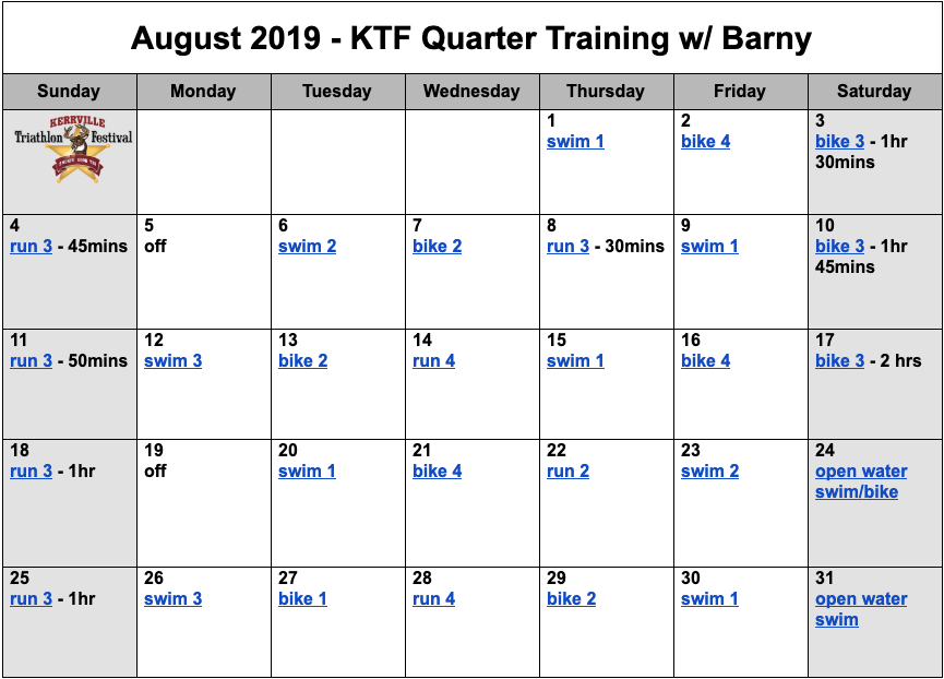 Quarter distance triathlon training plan for August.
