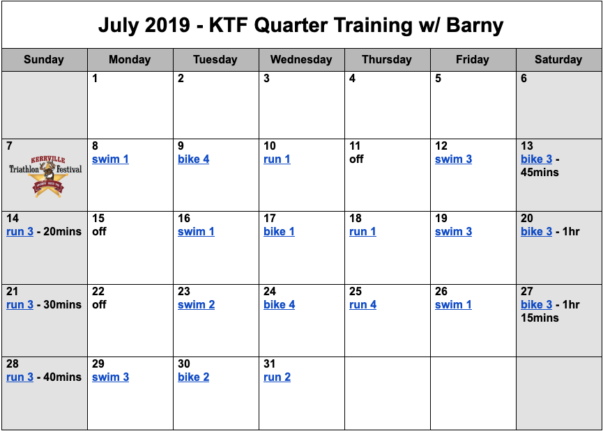 Quarter distance triathlon training plan for July.