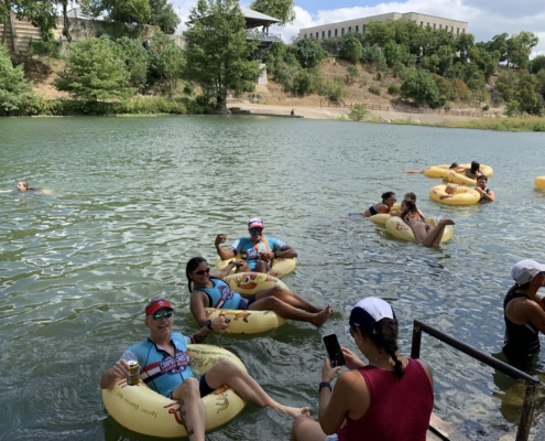 A record number of triathletes registered for the 2019 Kerrville Triathlon, including these triathletes floating the Guadalupe River in their Kerrville Tri floats!