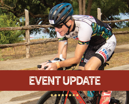 "Image of cyclist during the Kerrville Triathlon Festival. Graphic contains the phrase ""event update"" and announces that 2020 Kerrville Triathlon is canceled."