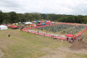 Kerrville Tri T2 transition from bike to run in Louise Hays Park