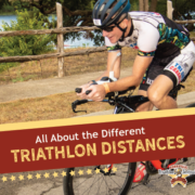 Social Share for Blog About Triathlon Distances, shows man on bicycle participating in half iron distance triathlon behind title