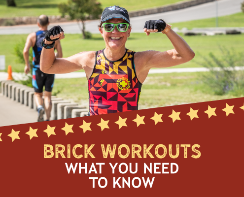 Triathlete flexes her arms during the 2019 Kerrville Triathlon. Text in design reads Brick Workouts What You Need to Know