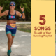 Female runner smiles for the camera and holds up the longhorn sign on both hands during the run portion of Kerrville Triathlon. Text on design reads 5 Songs to Add to Your Running Playlist. Listen to the songs at https://kerrvilletri.com/2020/10/your-running-playlist/