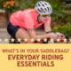 Female triathlete rides her bike during the 2019 Kerrville Triathlon. Text on design asks What's In Your Saddle Bag and the blog explains essential saddle bag items. Learn more at https://kerrvilletri.com/2020/10/saddle-bag-items/