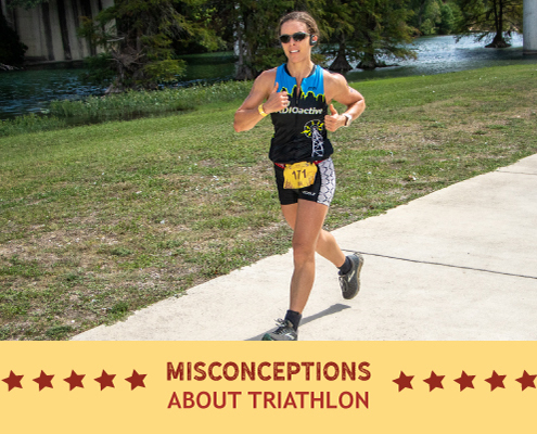 Runner competes during the run portion of the Kerrville Triathlon. Text on design reads Common Misconceptions about Triathlon. Read more at https://kerrvilletri.com/2020/11/common-misconceptions-about-triathlon/