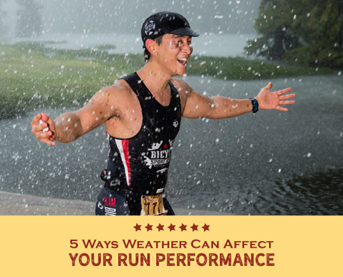 Triathlete completes the run portion at Kerrville Triathlon during a rain storm. Text on design reads 5 Ways Weather Affects Run Performance. Learn more at https://kerrvilletri.com/2021/02/weather-affects-run-performance/