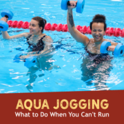 Two woman aqua jog in a pool using light weight weights. Text on design reads Aqua Jogging - What do Do When You Can't Run. Read more at https://kerrvilletri.com/2021/04/aqua-jogging/