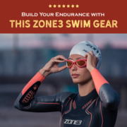 Triathlete adjusts her goggles before beginning a triathlon. Text on design reads Build Your Swim Endurance with this Zone3 Swim Gear. Check out the gear at https://kerrvilletri.com/2021/07/build-your-endurance-zone3/