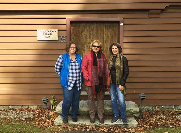 the 3 sisters outside the deacon john grave house front door