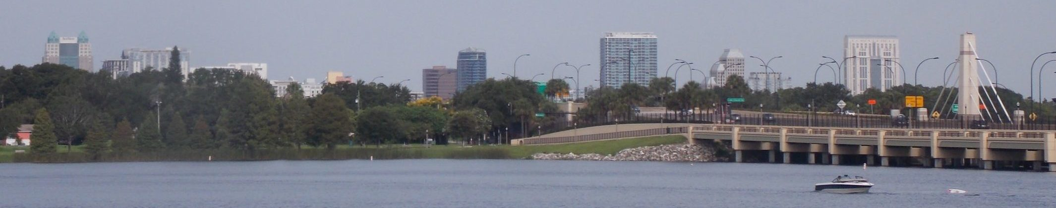 Lake underhill and down town skyline