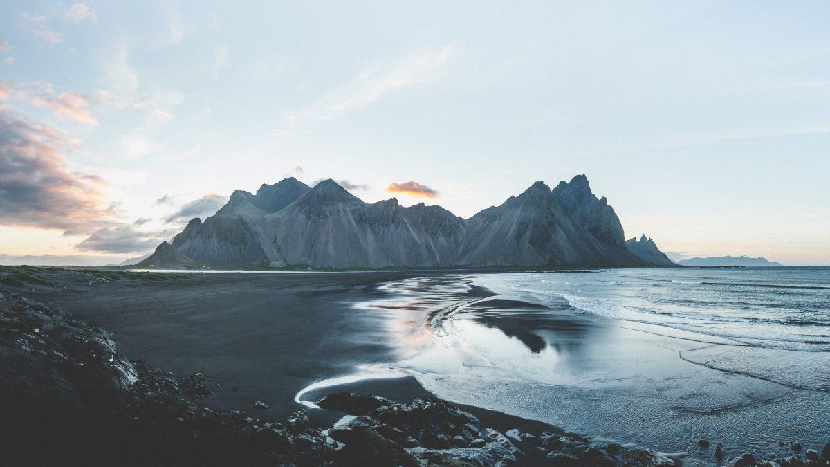 mountain terrain near body of water