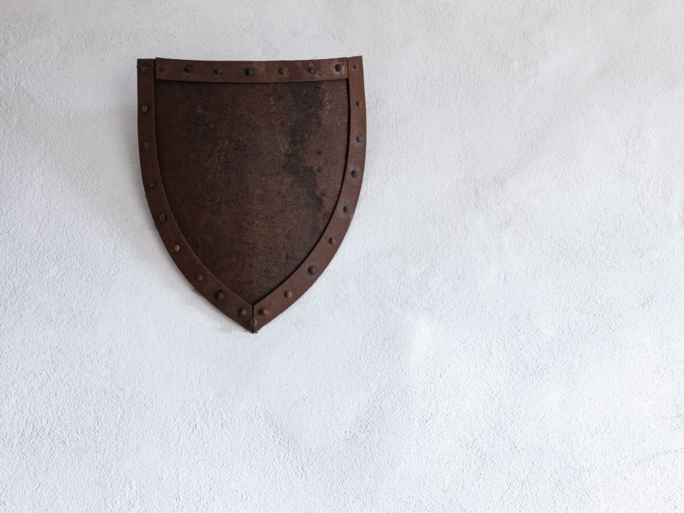 brown metal shield wall decor