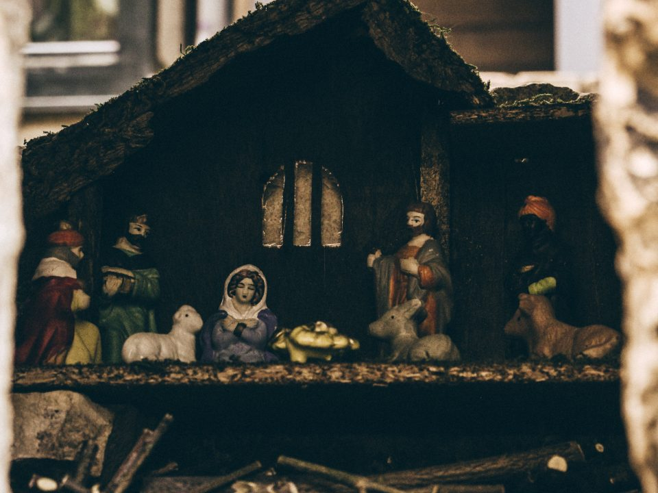 assorted-color nativity scene figurine