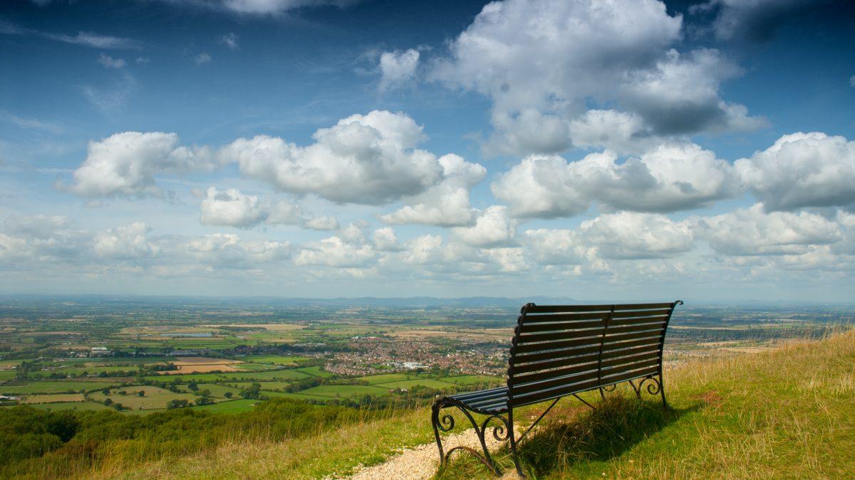 black bench on hill full of grasses