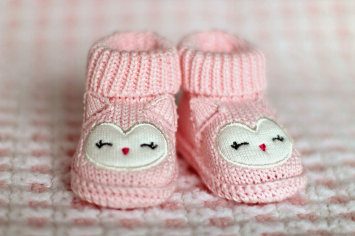 Pink Baby booties with bunny ears
