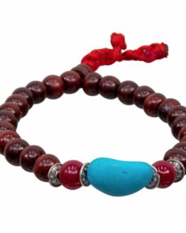 Rosewood and Turquoise Mala Bracelet