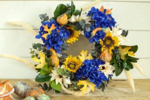 hydrangeas and sunflowers