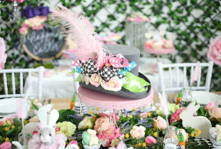 top hat centerpiece Easter in Wonderland