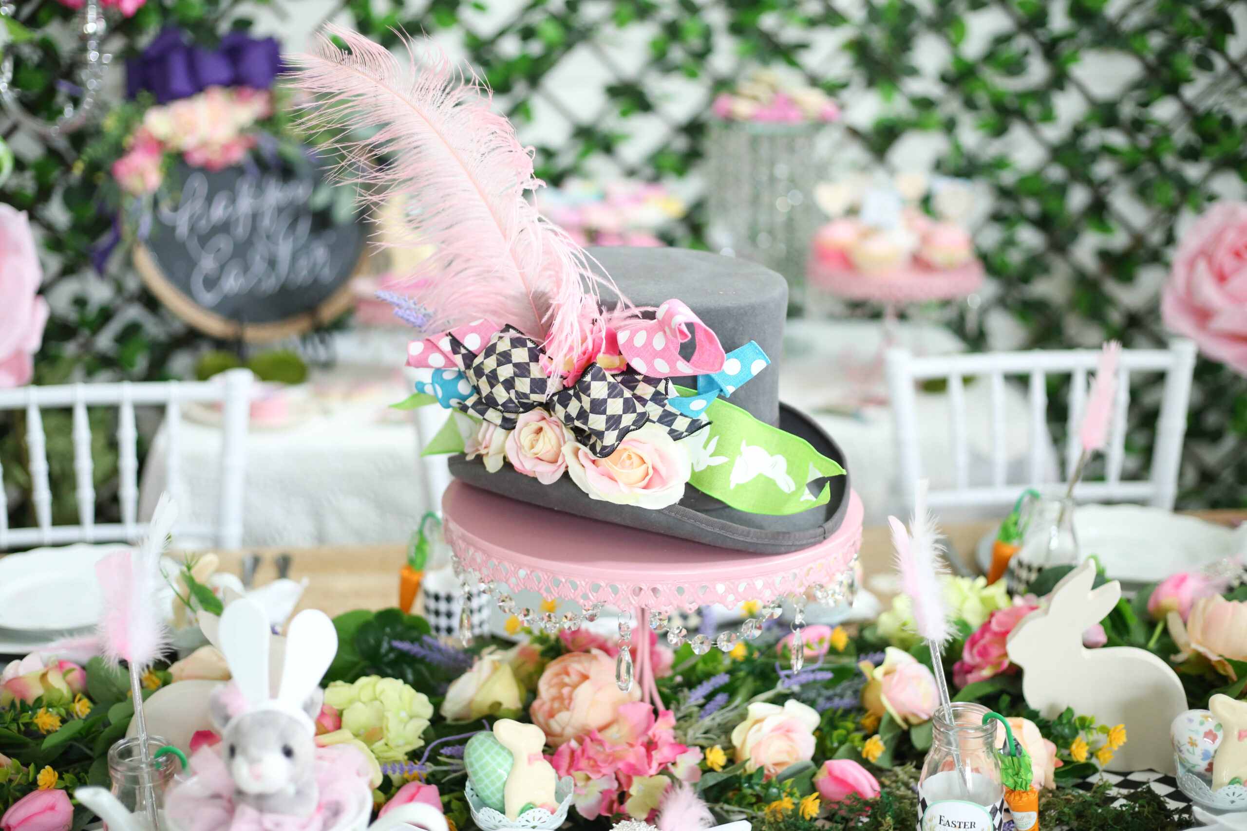 top hat centerpiece Easter in Wonderland